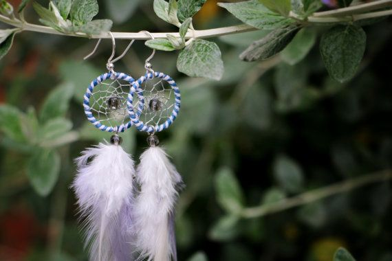 Long Striped Blue & White Dream Catcher by nZuriArtDesigns on Etsy