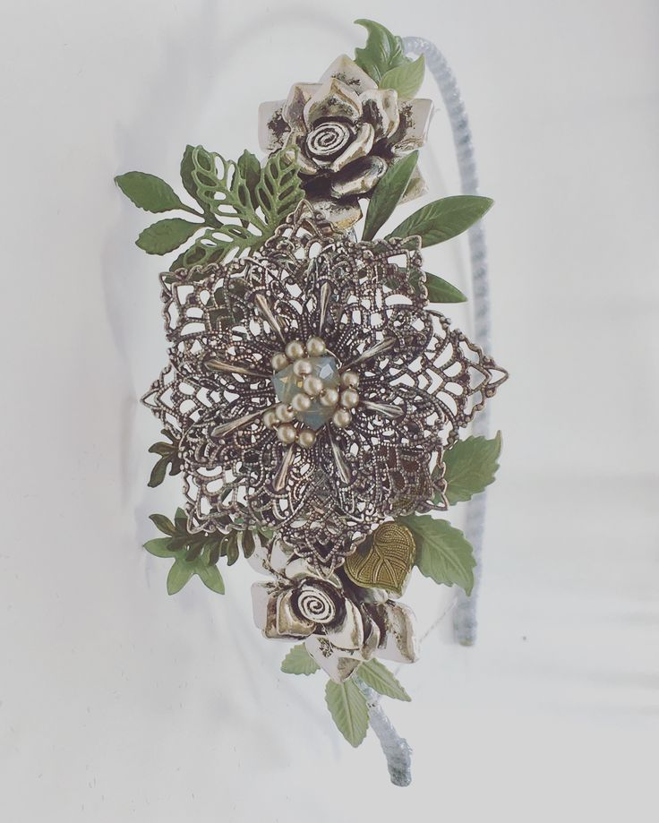 Handmade bridal headpiece. Luscious bridal greenery, vintage styling. Bespoke original piece.