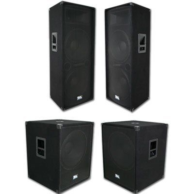 """Seismic Audio - Pair of Dual 15"""" PA DJ SPEAKERS & TWO 18"""" SUBWOOFER CABINETS PRO AUDIO - Band, Bar, Wedding by Seismic Audio. $899.99. Pair of Dual 15"""" Mains and a Pair of 18"""" Sub WoofersPackage #: SA-155TPKG3SpeakersModel #: SA-155T (Pair)Woofer:Two 15"""" 2 way and each has a 50 ounce magnet with a 2"""" kapton voice coil700 Watts RMS - 1400 Watts PeakWired at 4 ohms45Hz - 20KHzSensitivity: 96 dbTweeter: 1.5"""" Titanium driver with 10z. magnet and 1"""" throatCrossover: 1..."""