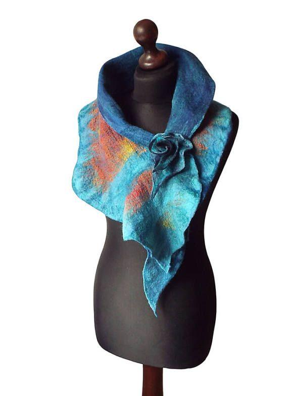 Felted collar colorful felt scarf felted shawl by MarlenaRakoczy