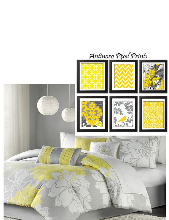 Yellow Accent Wall Decor : Yellow greys white wall art vintage by