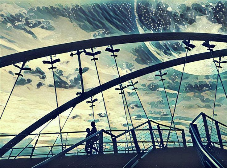 Fantasy landscape illustration artwork - silhouettes of two people walking on bridge under huge moon in the sky