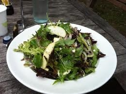 Pear & goats cheese salad, drizzled with Olio Bello's Mandarin pressed olive oil...