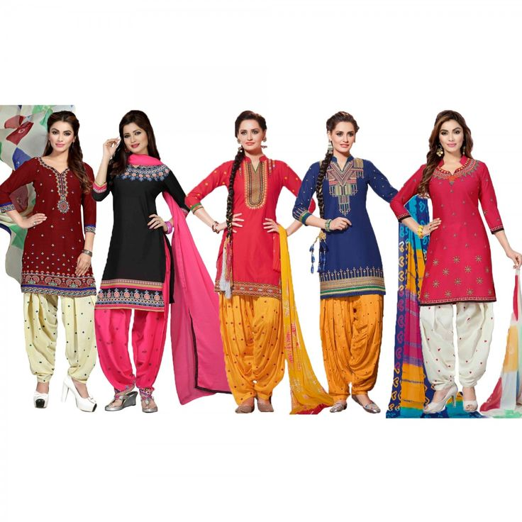 Buy Pack of 5 Printed Patiala Suit for womens online India, Best Prices, Reviews - Peachmode