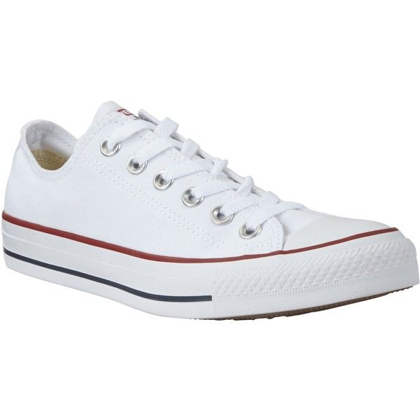 Converse Chuck Taylor All Star Canvas Ox Low-Top Trainers (£45) ❤ liked on Polyvore featuring shoes, sneakers, white, flat sneakers, white shoes, low top, white flat shoes and canvas sneakers