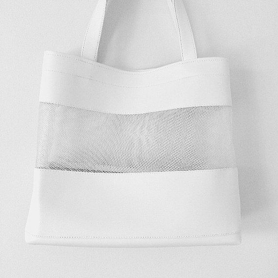White Faux Leather Tote Clear Net Mesh Shoulder by pingypearshop
