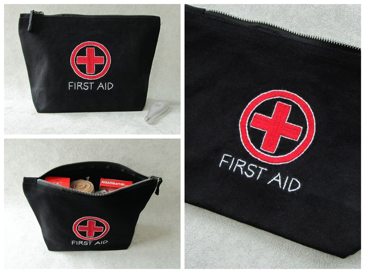 Hand Embroidered first aid zippered pouch bag in medium size. Great travel bag for entire family!!