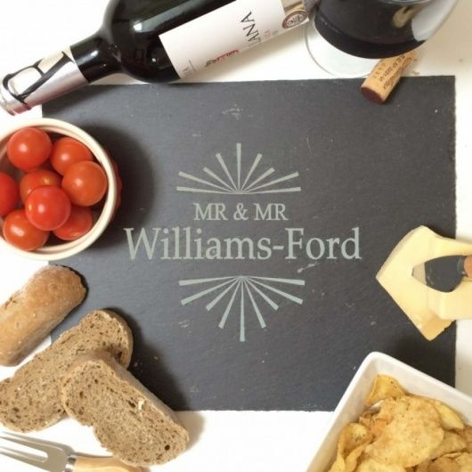 Mr & Mr Slate Cheese Board.  Beautifully engraved personalised slate cheese board with a modern geometric design this is a great centre piece for any cheese loving couple!  Please confirm the surname on ordering so we can personally design and engrave this for you.
