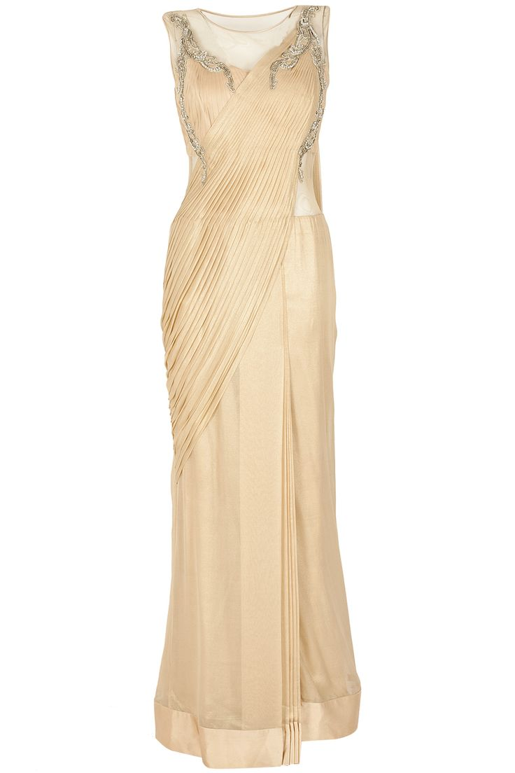 Gold embroidered sari gown available only at Pernia's Pop-Up Shop.