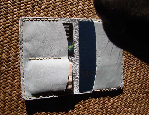Leather Passport Case with space for credit cards.