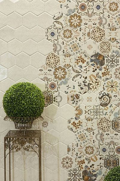 Azulejos vistage decorando una pared.Płytki ceramiczne, Seria Arandas, prod. Bestile. #cerámica #resulabrador #diseño