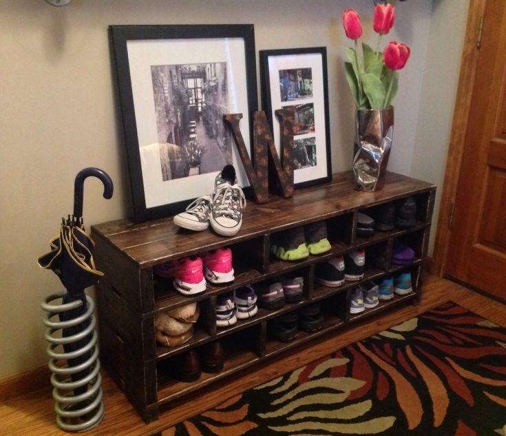 Jenny Handmade Shoe Storage Bench Shelving // Shoe Rack // Wood Storage // Entryway Foyer Mud Room Garage // Shoe Shelf//Reclaimed Wood by knottypallet on Etsy https://www.etsy.com/listing/196716519/jenny-handmade-shoe-storage-bench