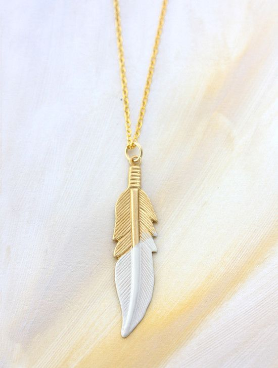 $49 Gold feather necklace