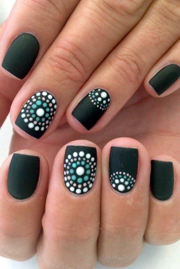 Colorful Polka Dots Nail Art Designs On Black Base