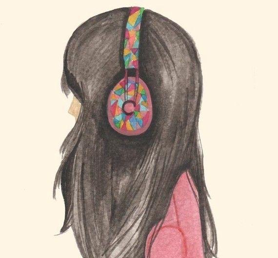 """print music girl headphones-lost"" by prettylittlethieves via Etsy."