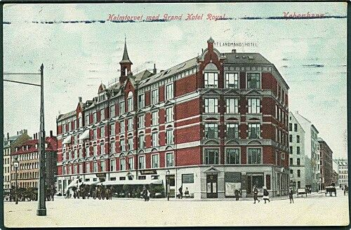 Halmtorvet med Grand Hotel Royal, 1909