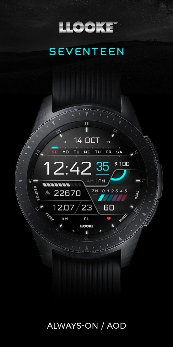 LLOOKE Seventeen Watchface designed for Samsung Galaxy watch | Futuristic watches. Watches for men. Smart watches men