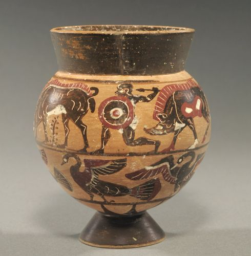 Etruscan Pontic black-figure cup, 6th century B.C. The upper register has an armed warrior between two boars; the lower with five geese left, wings outspread, 10 cm high. Private collection