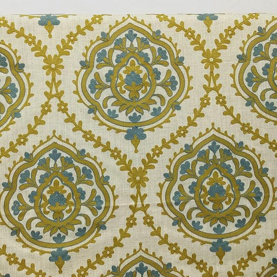 Chartreuse And Teal Blue Flowers Curtain Fabric By The Yard