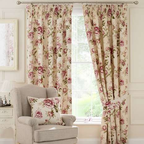 Cranberry Evelyn Lined Pencil Pleat Curtains Pleated