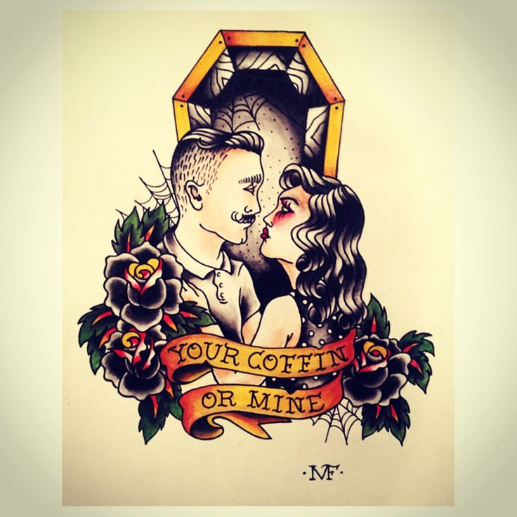 """Your coffin or mine"" Tattoo Flash"