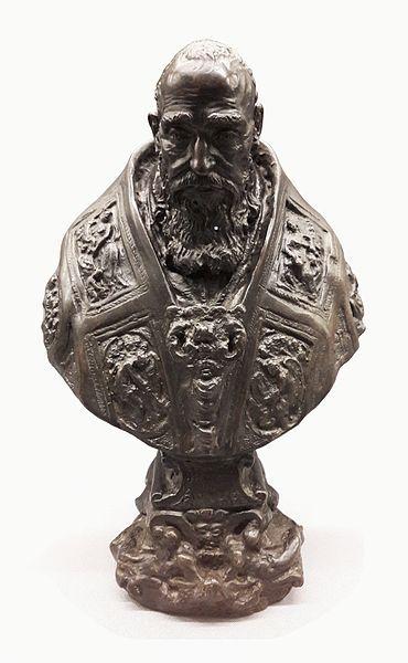с.1545.Bust of Pope Paul III.Guglielmo della Porta  (1500-77) bronze.31 cm. National Museum in Warsaw (MNW)