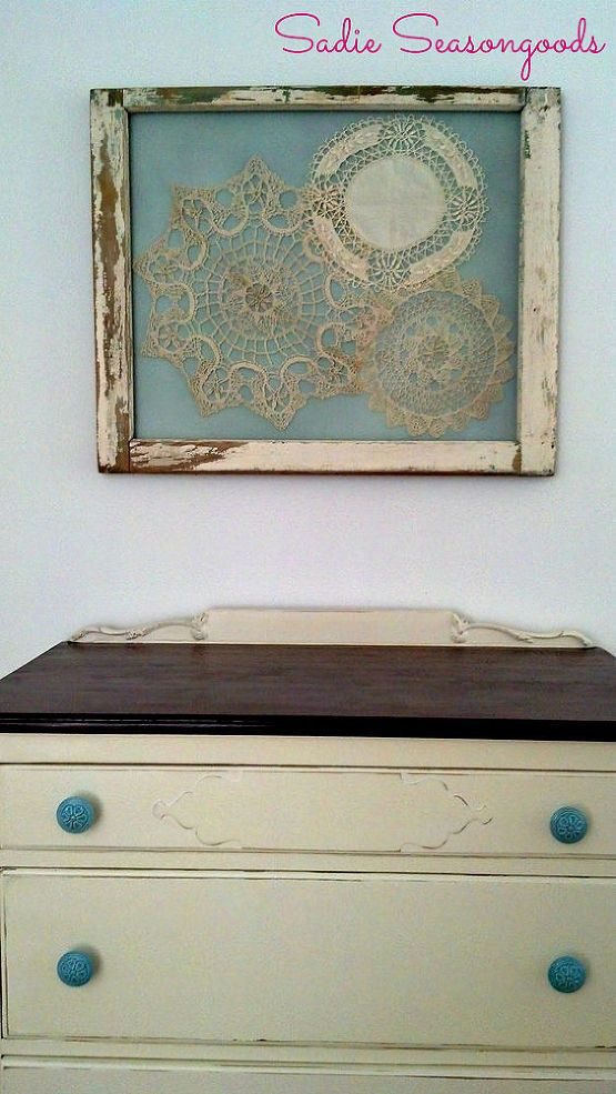 Salvaged Window Frame Doily Display