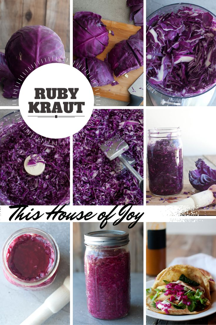 How to make ruby kraut (red cabbage sauerkraut).  It makes every meal look fancy! // This House of Joy