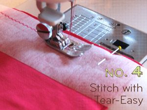 """""""One of our favorite tips for knits is to cut strips of Tear Easy, a tear-away stabilizer. Place over the seam allowance as you are stitching your seams to help prevent the knit fabric from poking down into the sewing machine throat plate. This works especially well with tight knit jersey fabrics."""""""