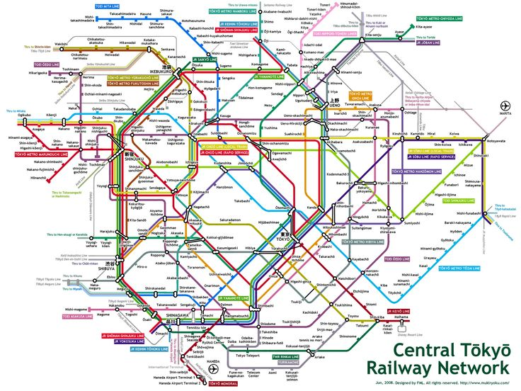 Central Tokyo Metro/Train Map. Maybe the most complicated and intricate in the World