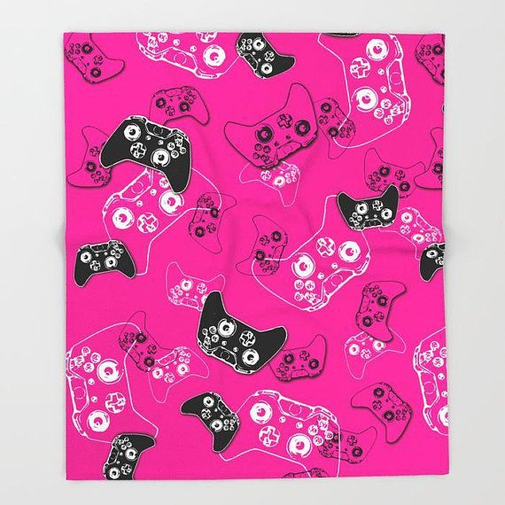 Girl Gamer Blanket, Video Game Room Gamer Throw Blanket, Pink Gaming Bedroom, Gamer Room Decor, Gaming Gifts, Gaming Room, Fleece Blanket –  – #GamerR…