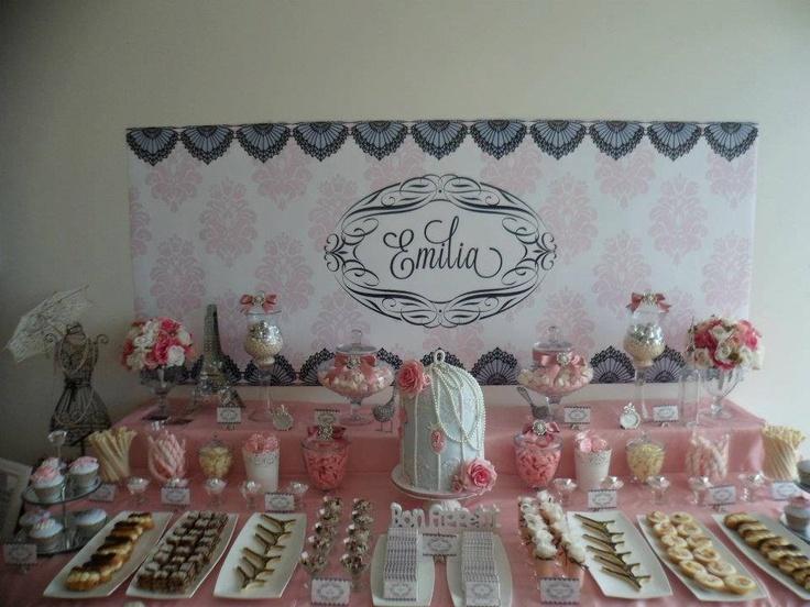 Parisian first birthday dessert table