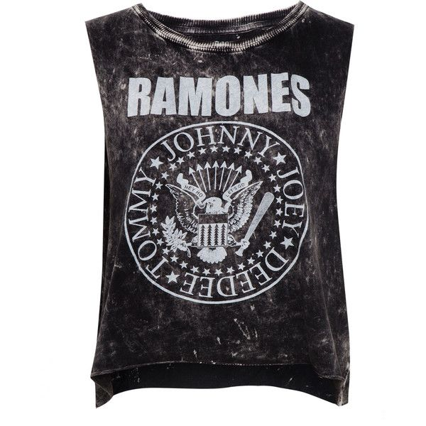 Pull & Bear Ramones T-Shirt ($15) ❤ liked on Polyvore featuring tops, shirts, tank tops, t-shirts, black cotton shirt, cotton shirts, black shirt, shirts & tops and black top