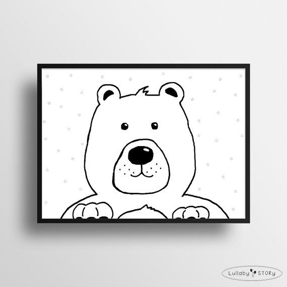 Kids poster with bear-Scandi poster-Scandinavian by LullabySTORY