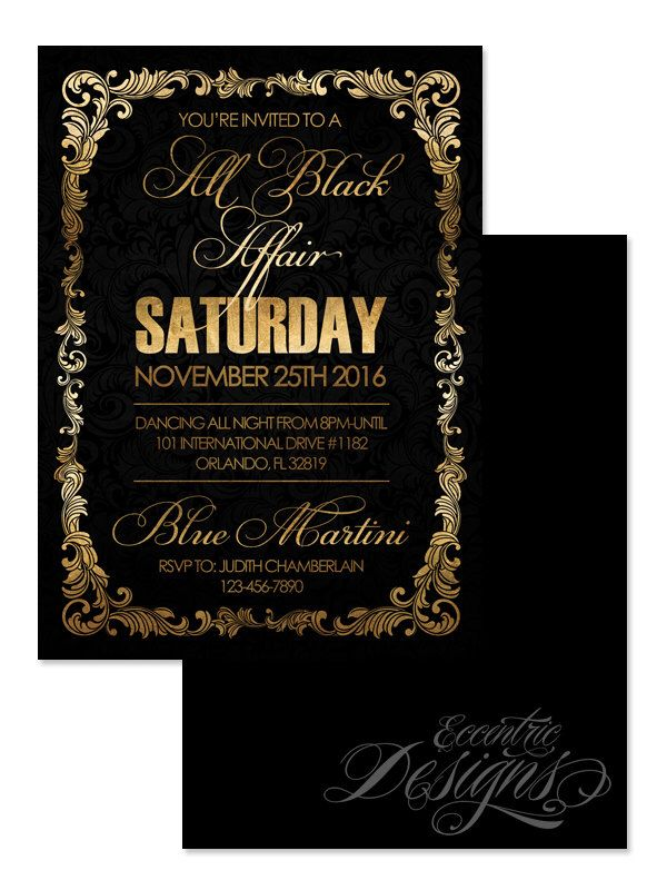 5X7 All Black Affair Invitation - You Print - Foil | Anniversary | Club Party | Birthday Party | Banquet Dinner | All Black Party | Adult by LatishaHorton on Etsy https://www.etsy.com/listing/260754987/5x7-all-black-affair-invitation-you