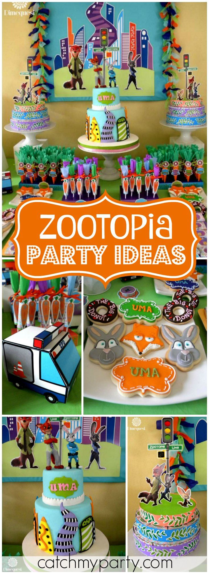 Check out this colorful and fun Zootopia birthday party! See more party ideas at Catchmyparty.com!