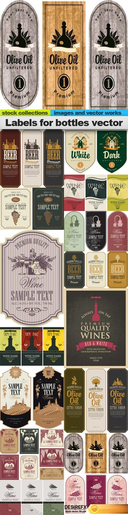 Labels for bottles vector, 15 x EPS http://www.desirefx.me/labels-for-bottles-vector-15-x-eps/
