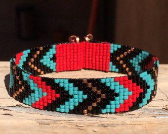 Rood & Turquoise Chevron Bead Loom armband Boheemse Boho ambachtelijke sieraden Indiase westerse Beaded Indiaanse geïnspireerd zuidwesten
