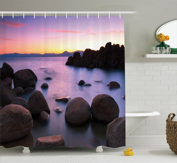 Nature Shower Curtain Set, Long Exposure Still Lake with Big Rocks in Blurred Water and Misty Color Sky Scenery, Bathroom Decor, Grey Purple, by Ambesonne - Walmart.com