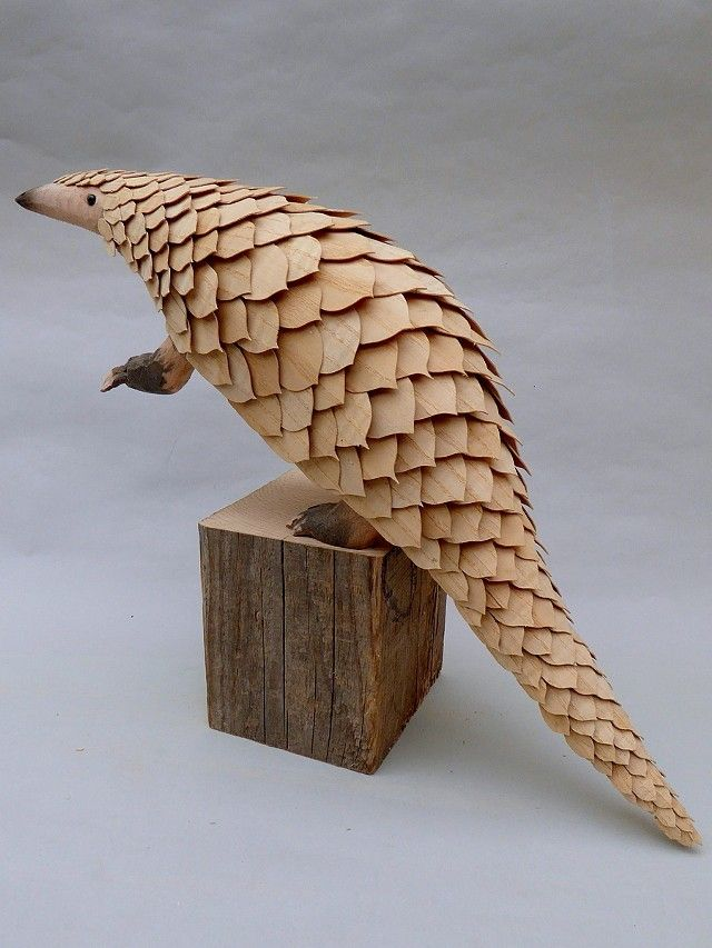 Jeff Soan - carved and articulated wooden creatures -  Pangolin