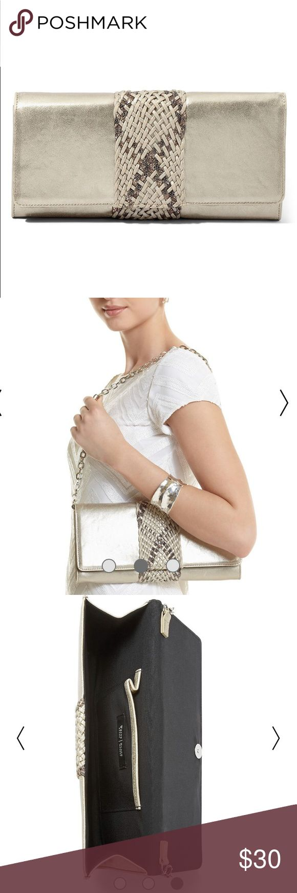 """WHBM Woven Metallic Clutch Frosted clutch wrapped with a shimmering braid. Add the Woven Metallic Cork Wedge and Belt for a chic ensemble. Magnetic clasp. Removable drop-in chain. Interior pocket. 11.5"""" L x 1.25"""" W x 5.5"""" H. Polyurethane. Imported. White House Black Market Bags Clutches & Wristlets"""
