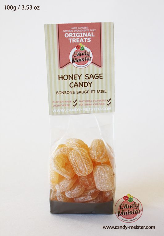 Honey-Sage Candy contains only natural, gluten, and dairy free ingredients. High quality natural sage oil combined with honey give this candy a herbal and sweet flavour. When dissolved in hot water, this candy turns into a mild, naturally sweetened herbal tea.