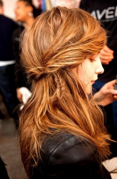 Messy layered hairstyle for redheads