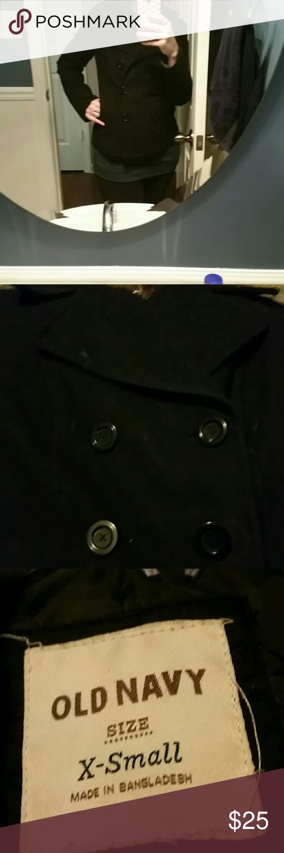 Old navy black wool blend peacoat Old navy black wool blend peacoat in size xs.  Well loved, but plenty of wear left.  *I do have a beagle that sheds, sorry if a stray hair make its way in the package, but I will try to triple check! *Non smoking home Old Navy Jackets & Coats