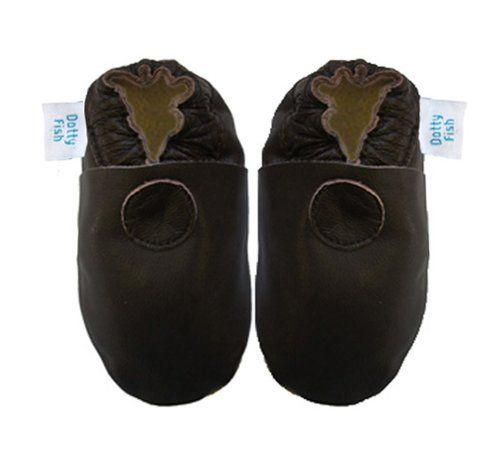 Acogedoras y suaves zapatos de cuero para bebé niña, niño con suela de gamuza Dotty Fish Diseño Solido – 6-12 Meses – Café Chocolate