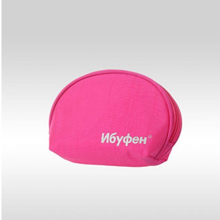 Косметичка с логотипом Ибуфен. Пошив на заказ с вашим логотипом (Pink cosmetic bag with logo)