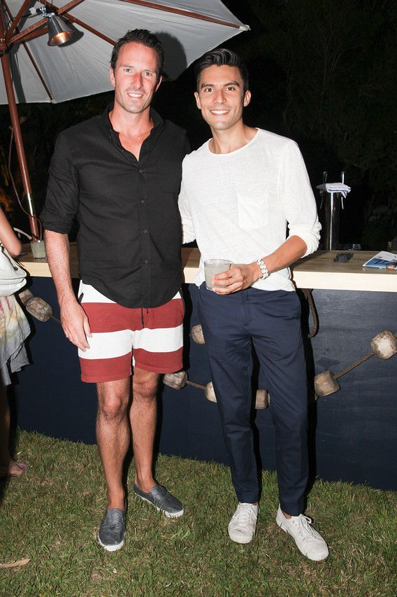 Dom Perignon's Vice President Mr Trent Fraser with Mr Porter's Marketing Manager - Carlos Rivera-Anaya. Trent is wearing shorts by THE UPSIDE