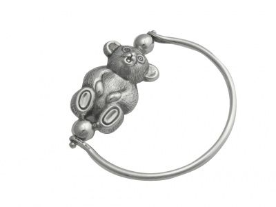 Rattle - EDWARDIAN SPINNING TEDDY - Sterling Silver