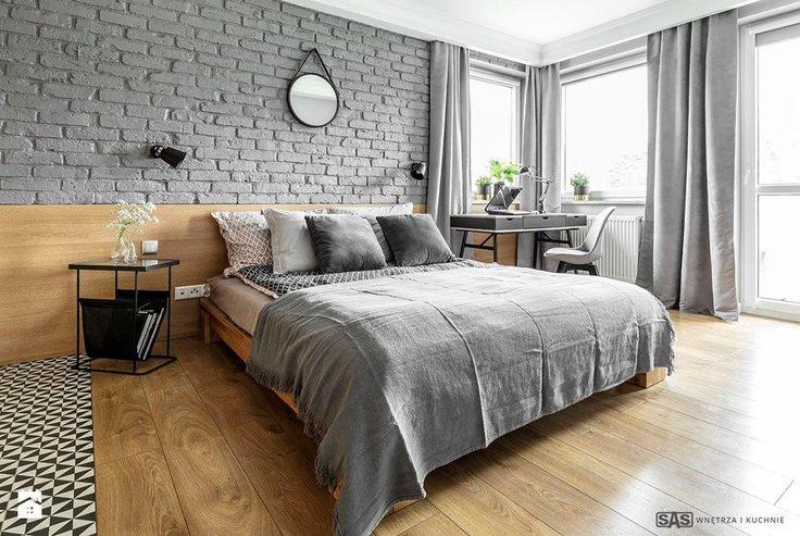 Mieszkanie z czerwonym akcentem - Sypialnia, styl industrialny - zdjęcie od SAS Wnętrza i Kuchnie modern bedroom | home inspiration | interior design | apartment