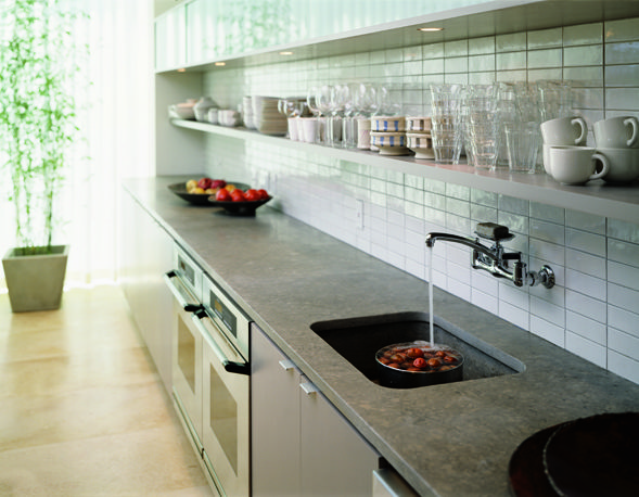 Kitchen W Wall Mounted Faucet Concrete Countertops And Subway Tile